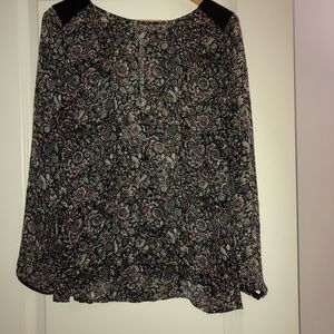 Silk and Leather Trim Blouse